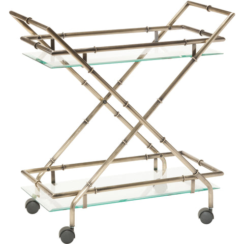 OSP Lanai Serving Cart, Antique Brass Plated Finish