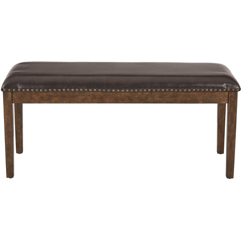 OSP Langston Bench with Antique Bronze Nail Head Detail, Espresso