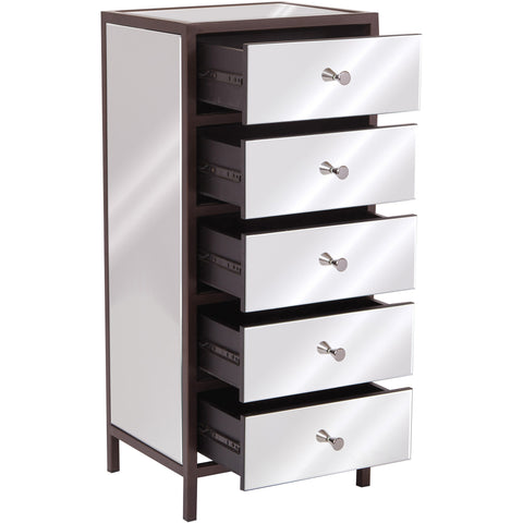 Marquis 5-Drawer Vertical Mirrored Cabinet
