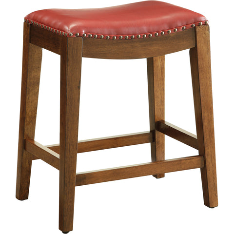 "OSP 24"" Saddle Stool with Nail Head Accents & Espresso Legs, Cranberry Leather"