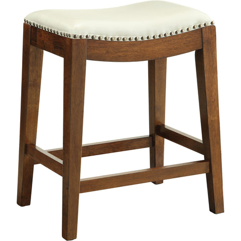 "OSP 24"" Saddle Stool with Nail Head Accents & Espresso Legs, Cream Leather"