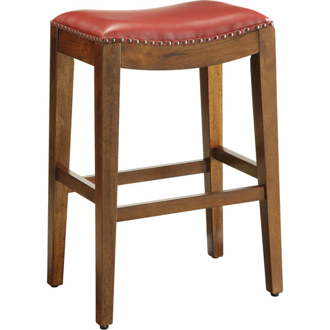 "OSP 29"" Saddle Stool with Nail Head Accents & Espresso Legs, Cranberry Leather"