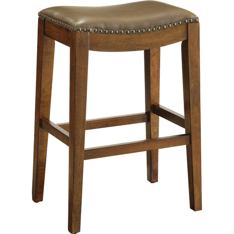 "OSP 29"" Saddle Stool with Nail Head Accents & Espresso Legs, Molasses Leather"