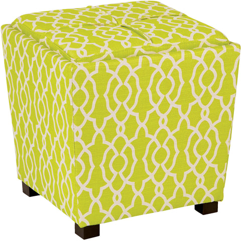 OSP Metro Ottomans with Reversible Tray Top, Abby Geo Lime Fabric (2pc Set)