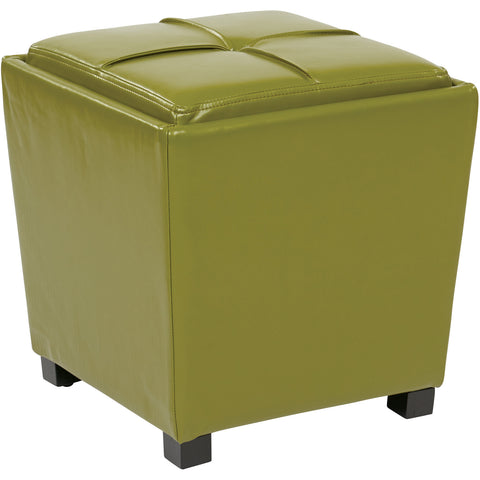 OSP Metro Storage Ottomans, Kiwi Green Bonded Leather (2pc Set)