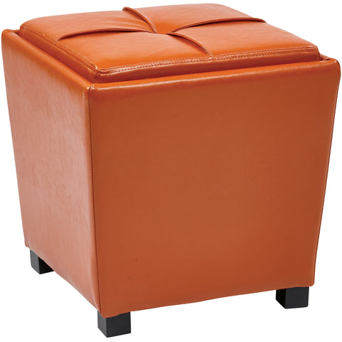 OSP Metro Storage Ottomans, Orange Vinyl (2pc Set)
