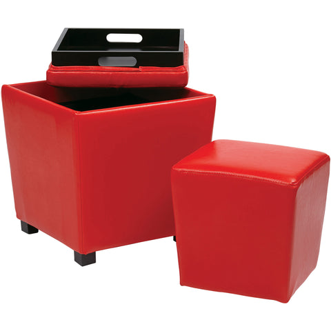 OSP Metro Storage Ottomans, Red Vinyl (2pc Set)