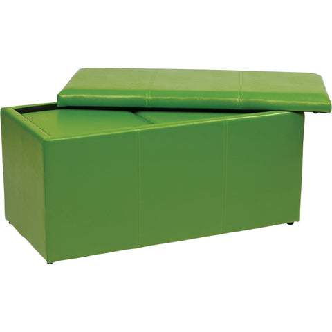 OSP Metro Storage Ottomans, Green Vinyl (3pc Set)