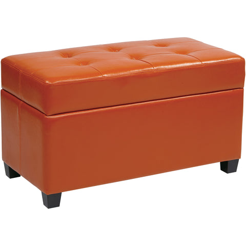 OSP Metro Storage Ottoman, Orange Vinyl
