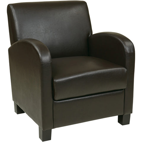 OSP Metro Club Chair with Espresso Legs, Espresso Bonded Leather