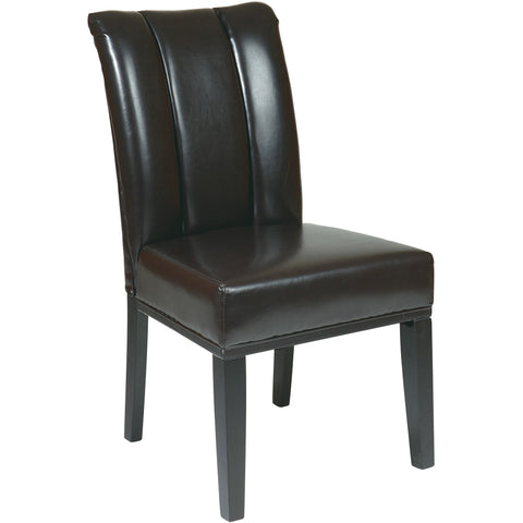 OSP Metro Pleated Back Parsons Chair with Espresso Legs, Espresso Leather