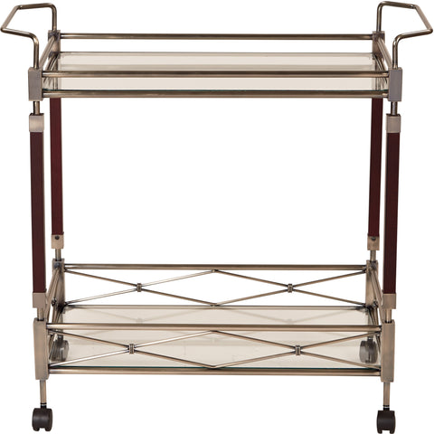 OSP Melrose Walnut Wood & Metal Serving Cart, Antique Brass