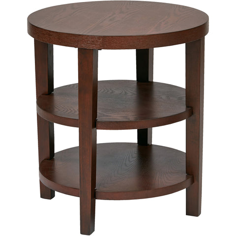 "Merge 20"" Round End Table, Mohogany Finish"