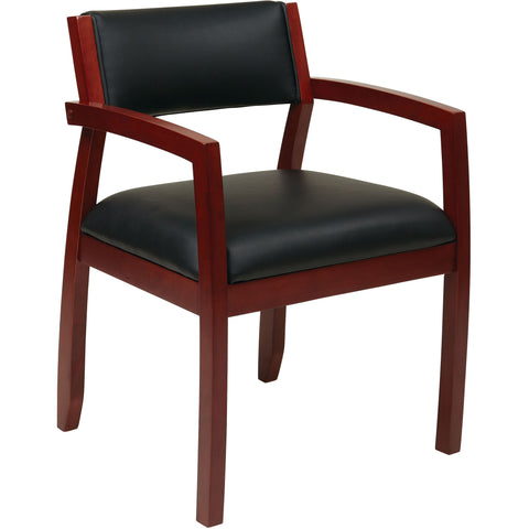 OSP Metro Button Back Parsons Chair with Espresso Legs, Crimson Red Leather