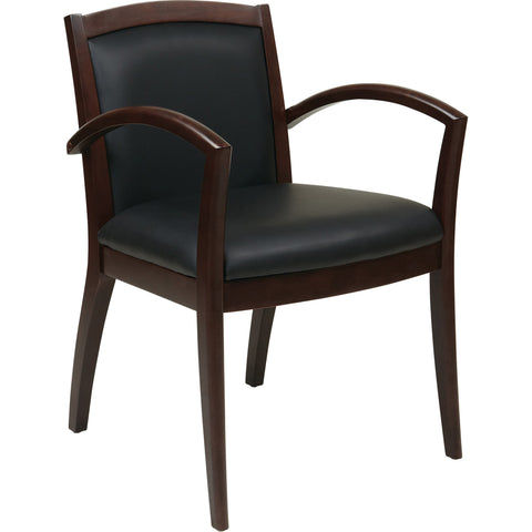 OSP Napa Espresso Wood Guest Chair with Full Cushion Back, Black Bonded Leather