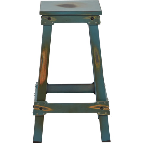 "OSP New Castle 26"" Metal Barstool, Antique Turquoise Finish"