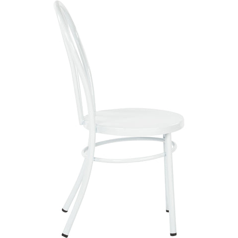 OSP Odessa Metal Dining Chairs with Backrest, White (Set of 2)