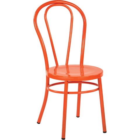OSP Odessa Metal Dining Chairs with Backrest, Orange (Set of 2)