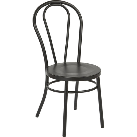 OSP Odessa Metal Dining Chairs with Backrest, Matte Black (Set of 2)