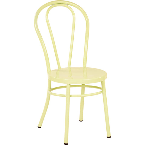 OSP Odessa Metal Dining Chairs with Backrest, Pastel Lemon (Set of 2)