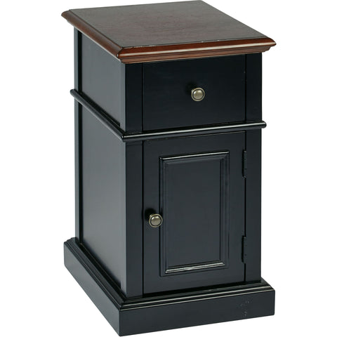 OSP Oxford Two-Tone Chair Side Table, Black Finish