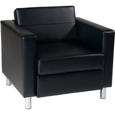 Ethan Fabric Tub Chair with Dark Espresso Wood Legs, Pewter Vinyl