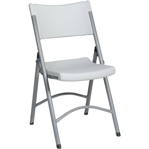 Work Smart Resin Folding Chairs, Light Grey (Set of 4)