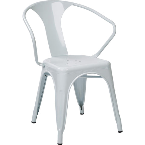 "OSP Patterson 30"" Metal Chairs, White (Set of 2)"