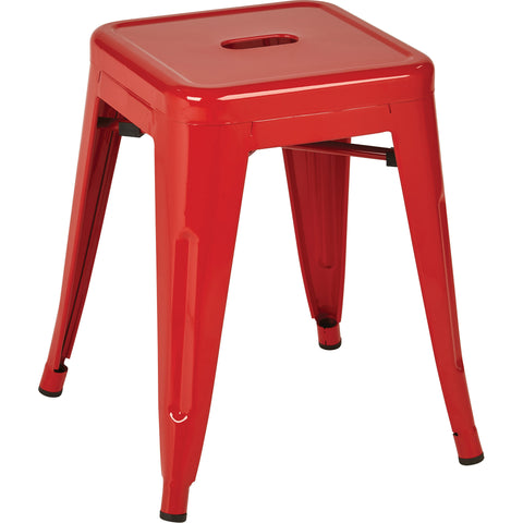 "OSP Patterson 18"" Metal Backless Stools, Red (Set of 2)"