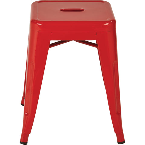 "OSP Patterson 18"" Metal Backless Barstools, Red (Set of 4)"