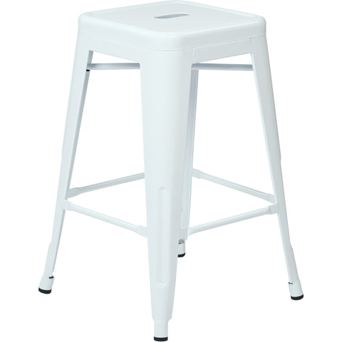 "OSP Patterson 24"" Steel Backless Barstools, White Finish (Set of 2)"