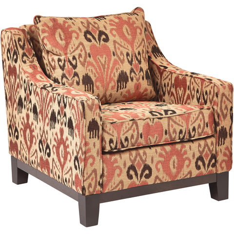 Madrid Accent Chair with Espresso Wood Caster Legs, Floral Groovy Red Fabric