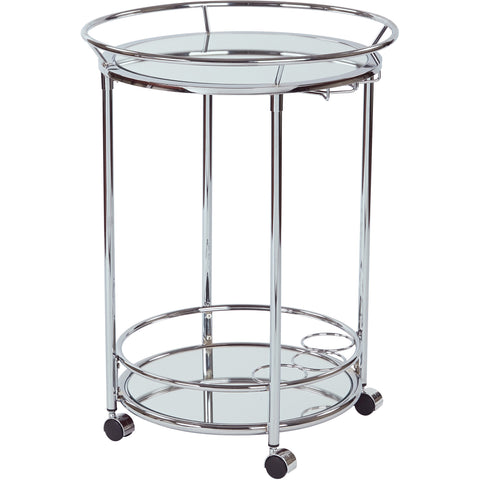 OSP Royse Serving Cart with Glass, Chrome