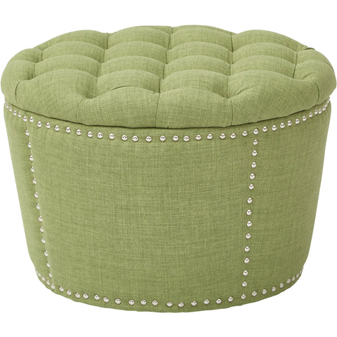Lacey Tufted Storage Ottoman Set, Milford Grass Fabric (2pc Set)