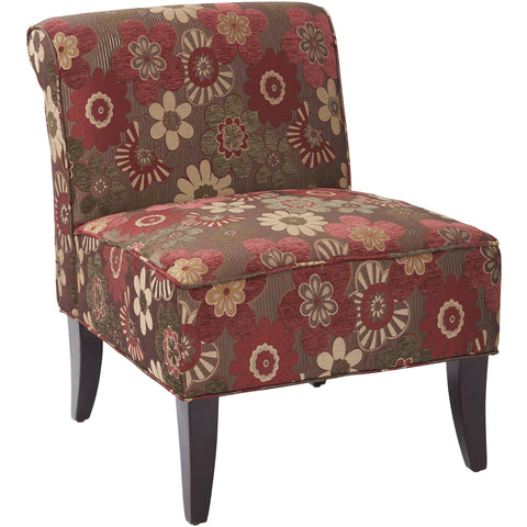 OSP Metro Club Chair with Ottoman, Crimson Red Faux Leather