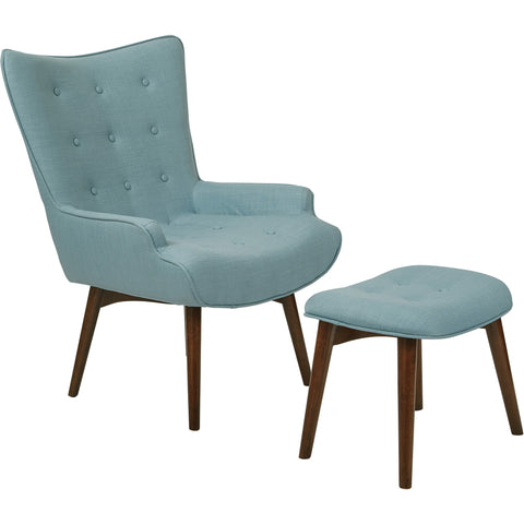 Fabrizzi Chair, Walnut/Denim Blue