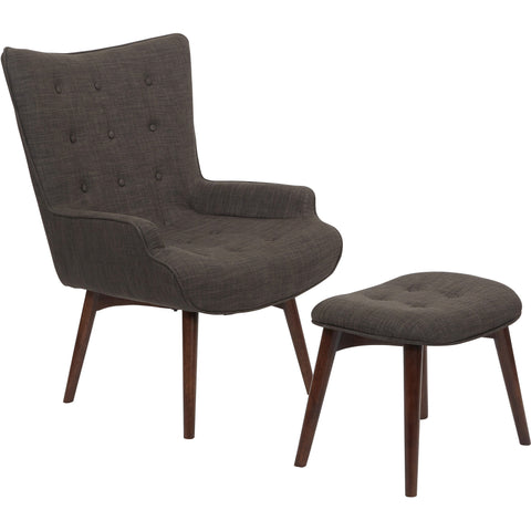 Curves Hour Glass Accent Chair with Espresso Legs, Azure Velvet