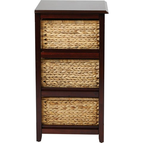 OSP Seabrook 3-Tier Storage Unit with Natural Baskets, Espresso Finish