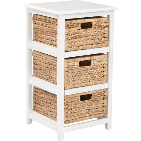 OSP Seabrook 3-Tier Storage Unit with Natural Baskets, White Finish
