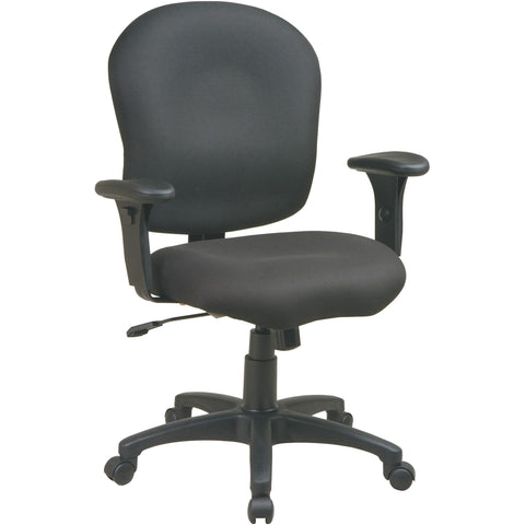 Work Smart Task Chair with Saddle Seat & Adjustable Padded Arms, Black Fabric