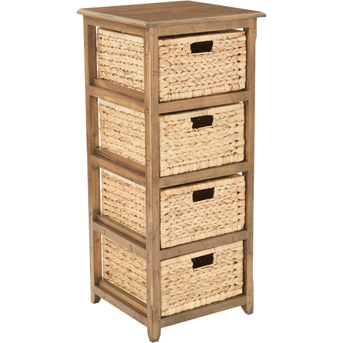 OSP Sheridan 4-Drawer Storage Unit, Distressed Toffee Finish