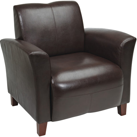 Work Smart Traditional Visitor's Chair with Thick Padded Seat & Back, Mahogany