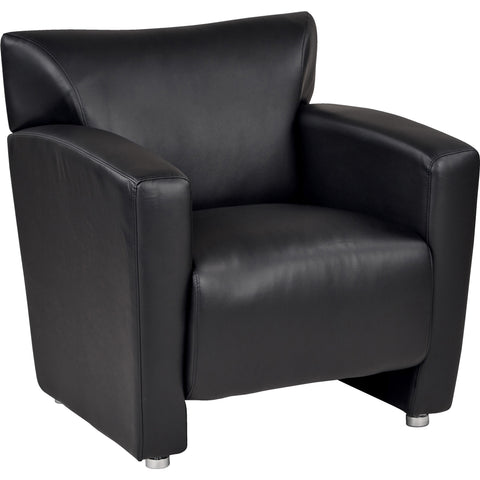 Wall Street Arm Chair LAF, Black Faux Leather