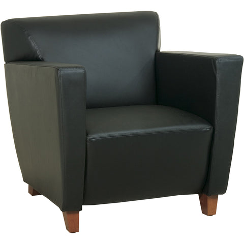 OSP Breeze Club Chair with Cherry Finish Legs, Mocha Bonded Leather