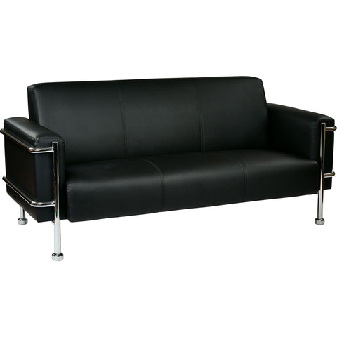 OSP Sofa with Chrome Accents, Black Bonded Leather