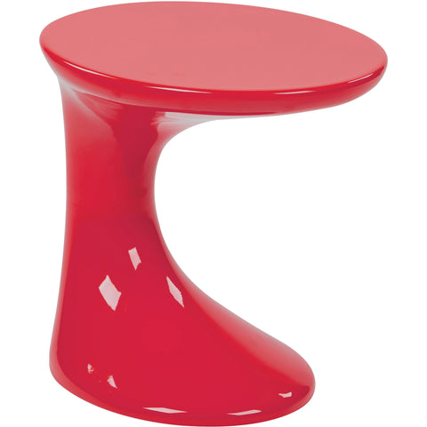 Slick Side Table with High Gloss Finish, Red