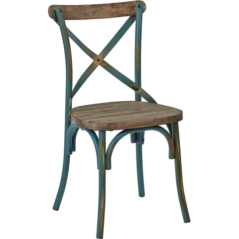 OSP Somerset X-Back Metal Chair with Rustic Walnut Seat, Antique Turquoise