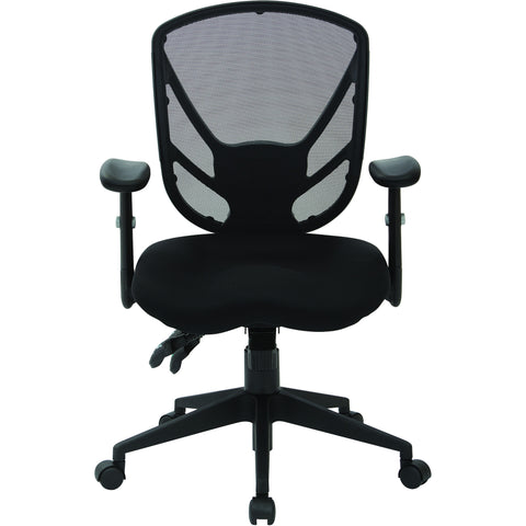 Work Smart Multifunctional Office Chair with Saddle Seat, Black Mesh