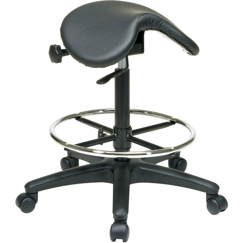 Work Smart Backless Stool with Saddle Seat & Carpet Casters, Black Vinyl