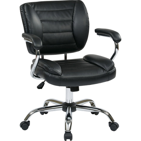 Work Smart Thick Padded Task Chair with Chrome Finish, Black Faux Leather
